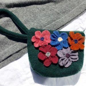 Wrist felt bag w/ flowers